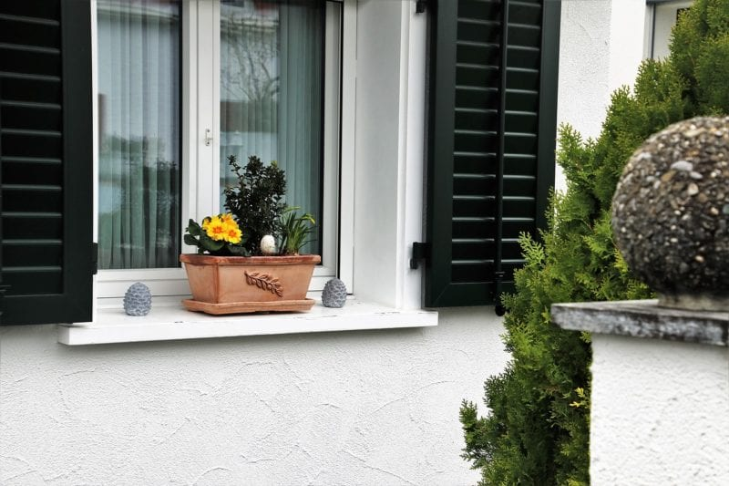 Die Blumenkastenhalterung für die Fensterbank ohne Bohrung ...