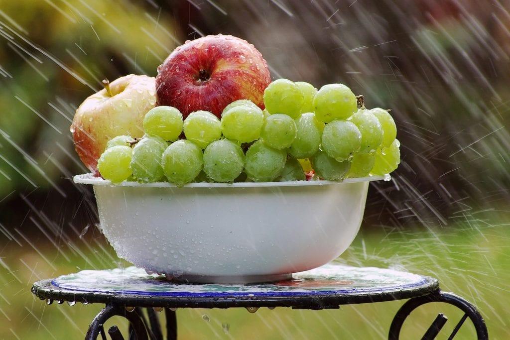 Äpfel und Weintrauben